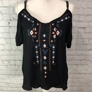 XHILARATION Pretty Black Boho Cold Shoulder Top